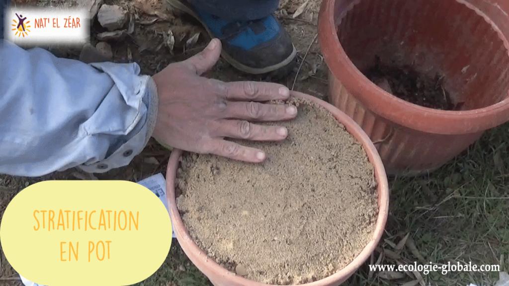 Stratification en pot